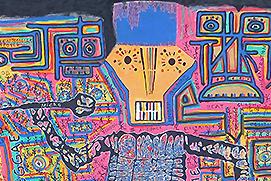 Samson Gahoui Benin Festival acrylique sur toile 133 x 277 vignette