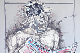 Roméo Temwa Medi-action Acrylique sur toile Cameroun 100 x 80 cm vignette