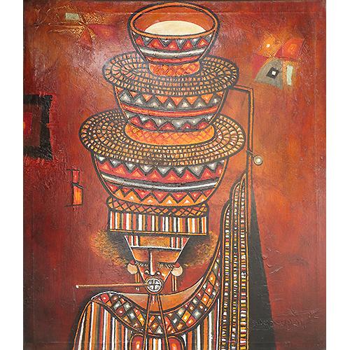 Bara Ndaw Porteuse de lait acrylique technique mixte sur toile artiste peintre senegal web